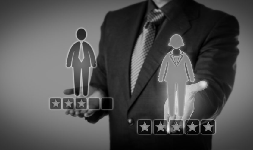 Recruiter Rating Female Employee With Five Stars